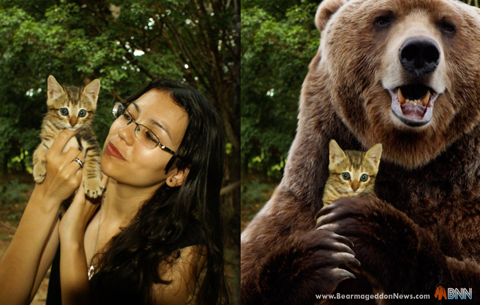 Society looks at this woman holding a kitten and thinks something completely different than when they see a bear holding the kitten. How does it feel society?