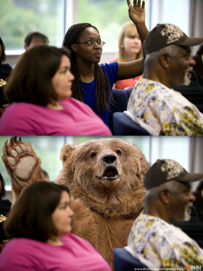 Woman dares to raise hand to speak up in meeting. Why doesn't a bear get the same reaction?