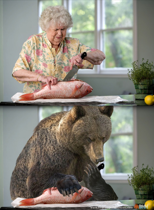 Old woman cutting fish. Seems normal until you see a bear doing it and you realize how deeply ingrained your bias towards either bears or old women is.