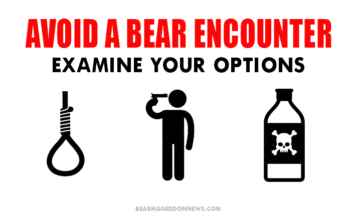 It's always good to be prepared for a bear attack by bringing some rope, a gun and bottle of poison on a hike.