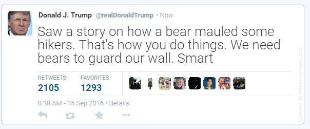 Trump's insensitive bear tweet